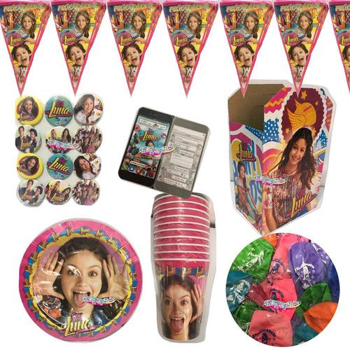soy luna kit arts de fiesta 20 niños platos dulceros env gra