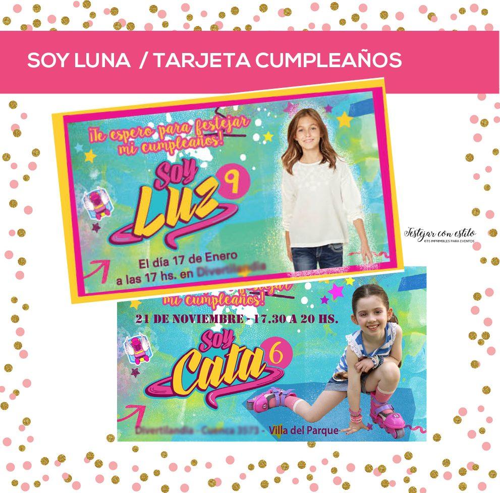 Soy Luna Tarjeta Invitacion Cumple Con Foto Y Logo Nena 10 00