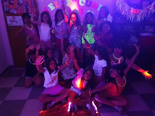 spa party ,fiesta fluo; slime party y mini chefs