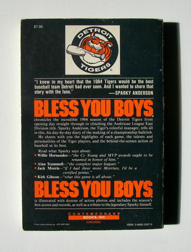 sparky anderson bless you boys detroit tigers 1984 libro