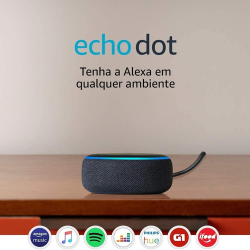 speaker amazon alexa echo dot 3 geração assistente virtual