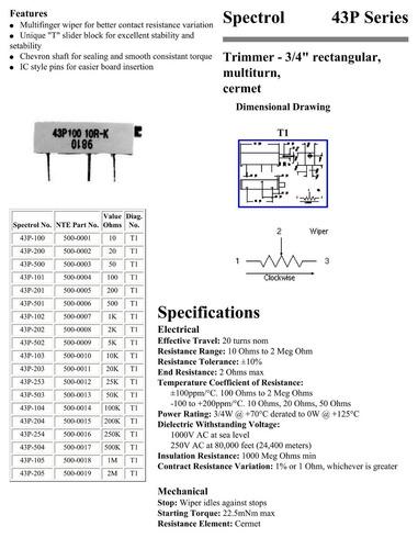 spectrol 43p 103 trimpot 10.000 ohm 10 vueltas