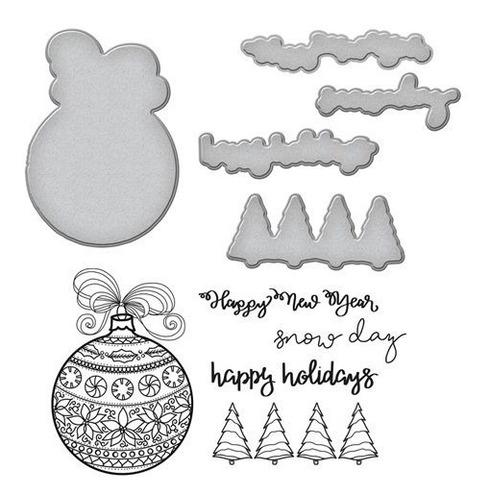 spellbinders happy holiday ornaments stamp & die set