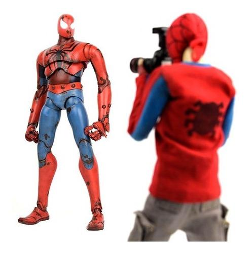 spider-man & peter parker figuras 1/6 - threea - robot negro