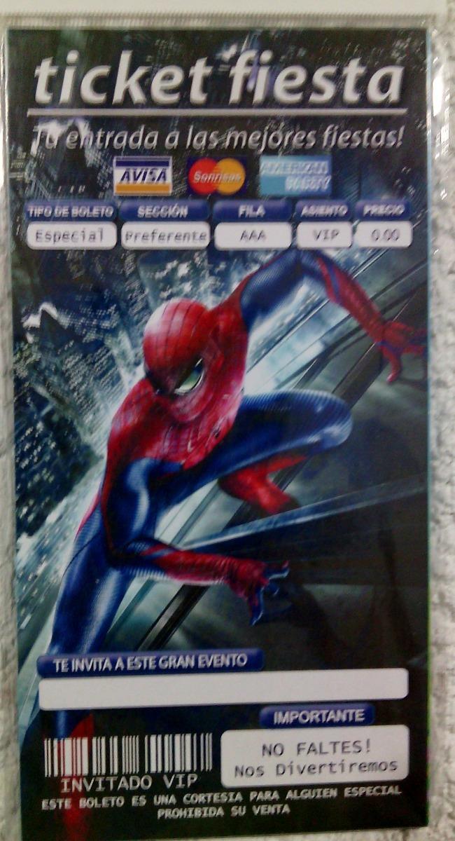 Spiderman 20 Ticket O Cell Phone Invitaciones Hombre Araña