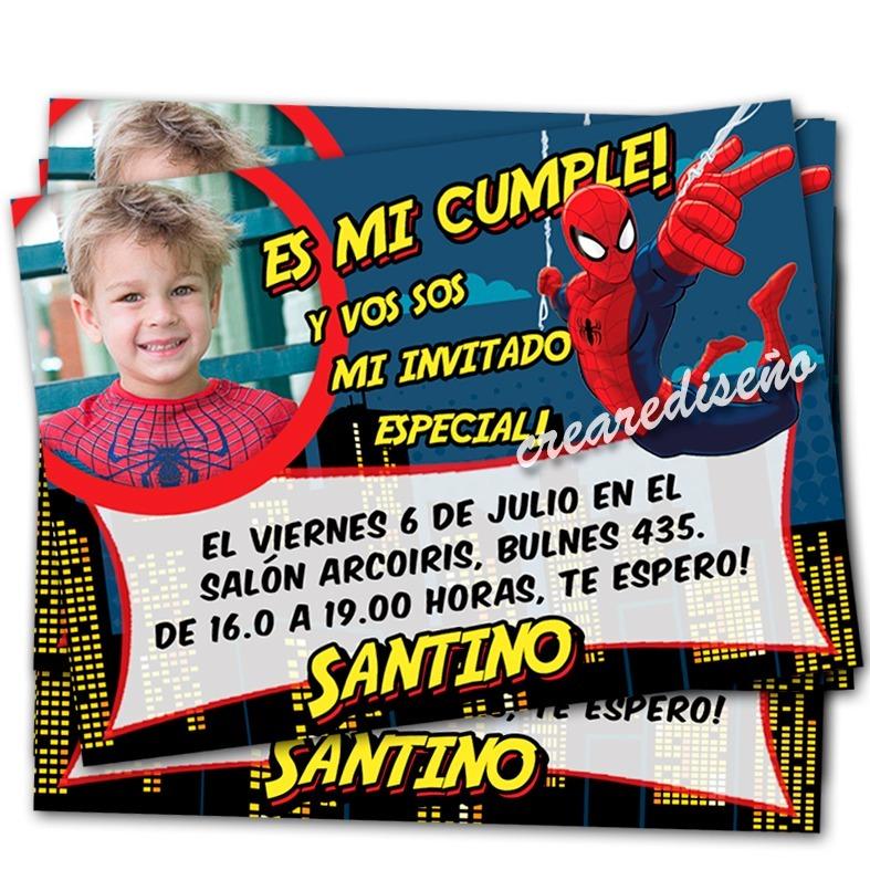 Spiderman Hombre Araña 20 Invitaciones D Cumpleaños Con Foto