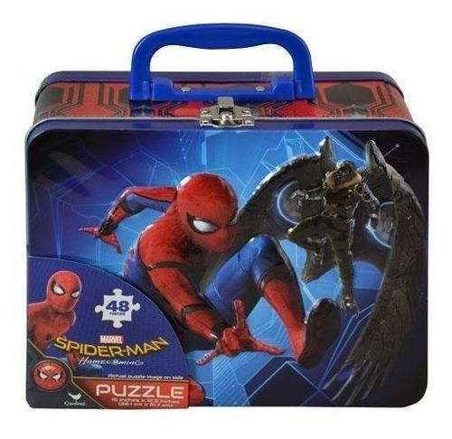 spiderman homecoming lunch tin box con un rompecabezas de