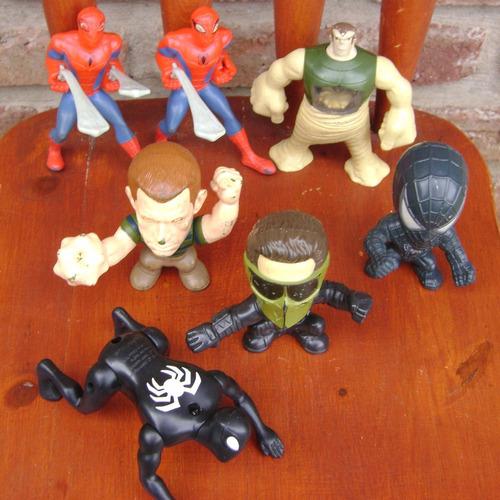 spiderman - lote 7 muñecos mcdonald's burger - hombre araña