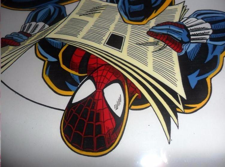 Dibujos De Spiderman Para Pintar: Spiderman Marvel Comics Dibujo Acetato Pintado A Mano