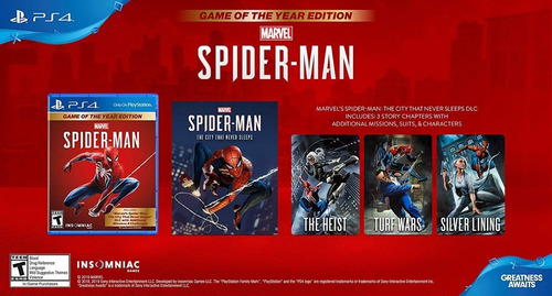 spiderman marvels / game of the year edition g.o.t.y. / ps4