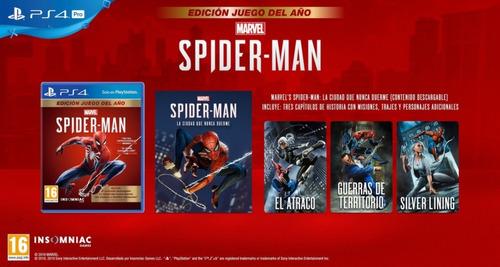spiderman ps4 edición juego del año físico. nuevo y sellado.