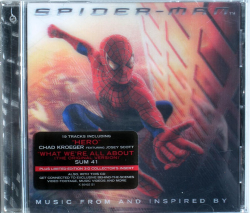spiderman - tapa 3d - cd soundtrack import usa