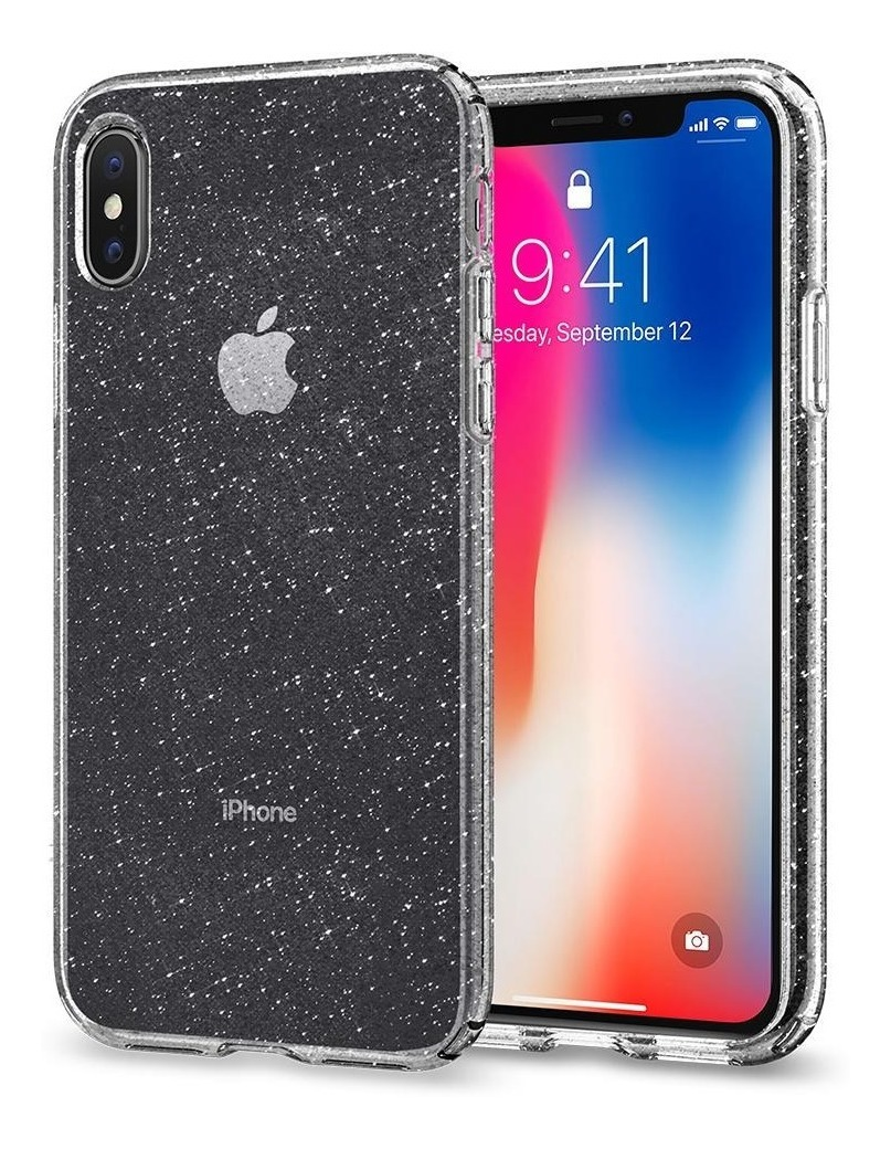 Funda iPhone XS Spigen Liquid Crystal Glitter - Rosa