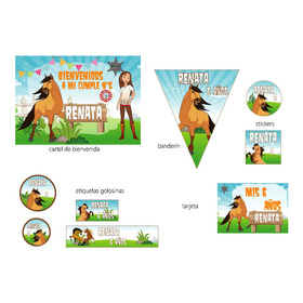 Spirit  Caballo Kit Cumple Cartel Banderines Stickers Candy