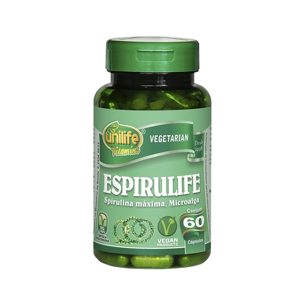 Spirulina Espirulife 60 Cápsulas 500mg Unilife