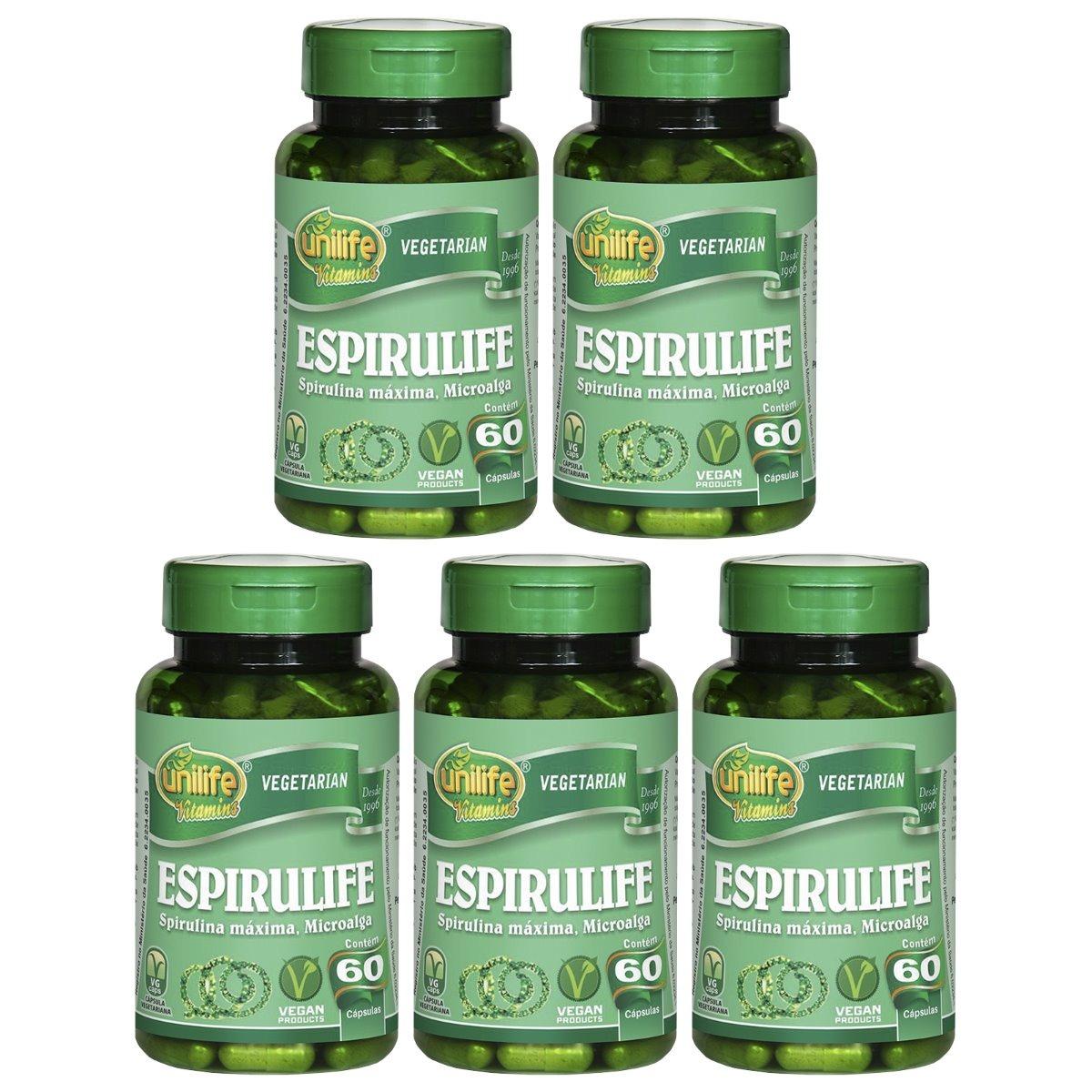 Spirulina Espirulife 60 Cápsulas 500mg Unilife Kit 5 Unidades