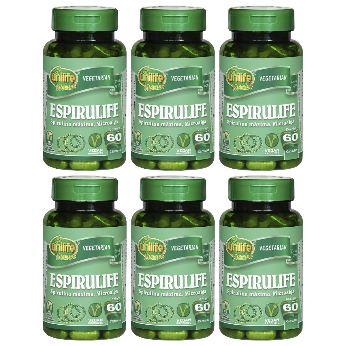Spirulina Espirulife 60 Cápsulas 500mg Unilife Kit 6 Unidades