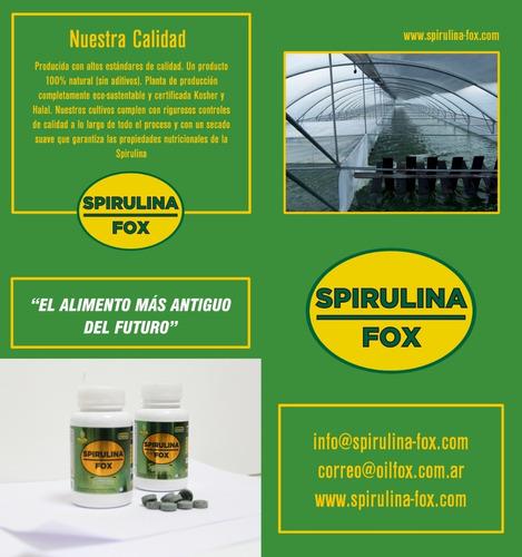 spirulina fox frasco x 80 comprimidos - 500 mg c/u