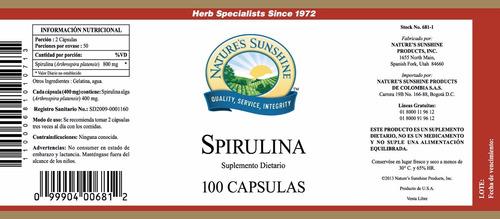 spirulina frasco de 100 cápsulas