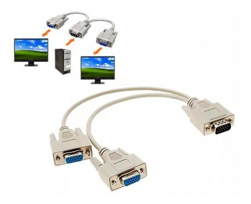 spliter vga cable y conecte 2 monitores proyectores lcd crt
