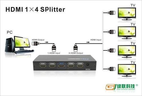 splitter hdmi 1 x 4   4k 2k v1.4 para dvd xbox projector dvr