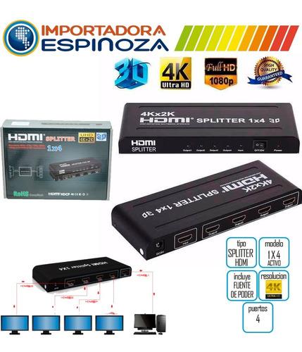 splitter hdmi 1 x 4 full hd 4k 2k v.4 dvd xbox proyector dvr