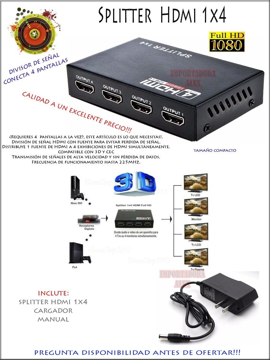Splitter hdmi 1 4 1x4 divisor de se al conecta 4 tv a la for Perdida de senal tv