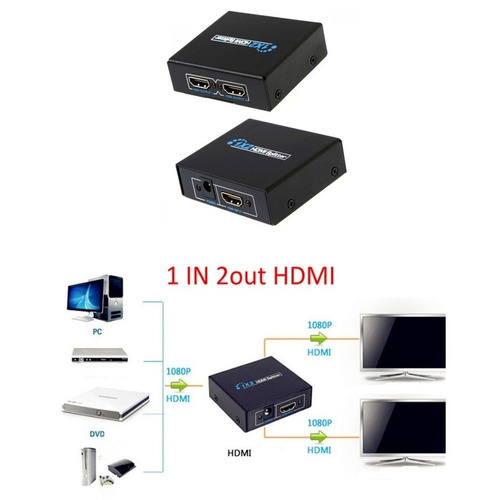 splitter hdmi 1x2 divisor 2 portas p/ ps3 xbox sky net hd