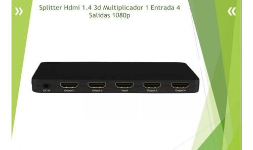splitter hdmi 1x4 1 entrada 4 salidas 1080p 3d ultra hd 4k