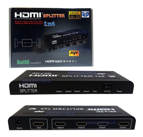 splitter hdmi 1x4 con fuente repartidor de señal full hd 4k