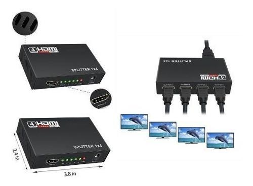 splitter hdmi 1x4 divisor conversor amplificador distribuido