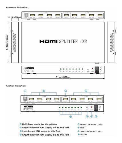 splitter hdmi 8 bocas de salida 1 puerto entrada 3d 2k 4k