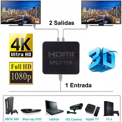 splitter hdmi activo 1x2 ps4 xbox tv monitor proyector