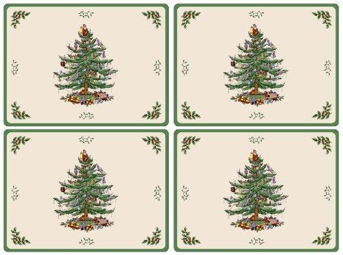 spode del árbol de navidad de tapa dura manteles, juego de