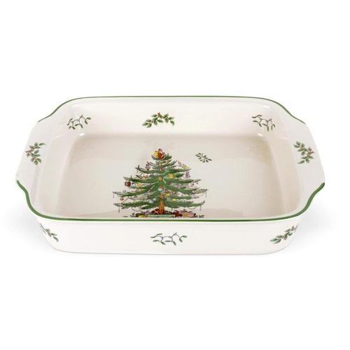 spode navidad árbol rectangular manejó plato