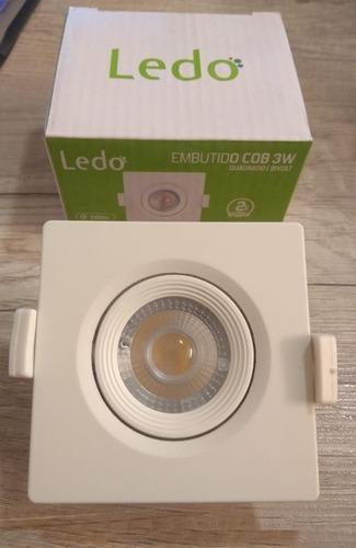 spot embutido cob quadrado led 3w 2700k branco quente - ledo