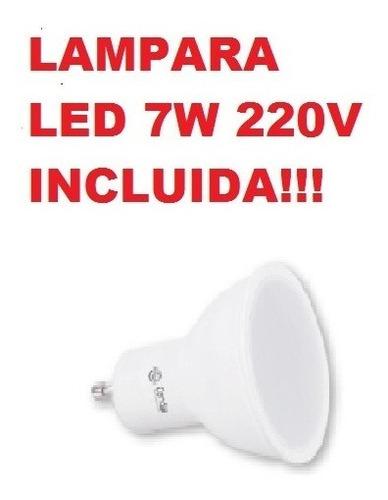 spot embutido piso gu10 con lampara led 7w candil incluida