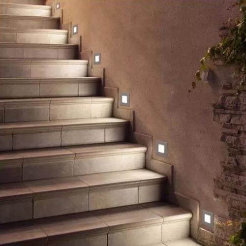 spot embutir escalera aluminio acero cuadrado fan candil