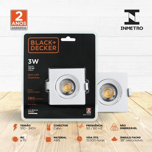 spot led 3w branca quadrado - black + decker