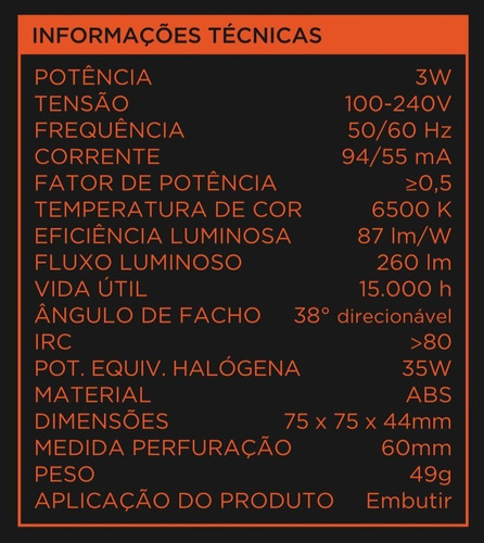 spot led 3w branca redondo - black + decker