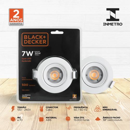 spot led 7w amarela redondo - black + decker
