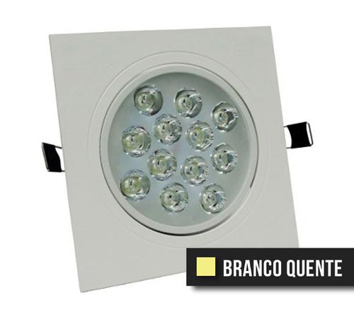 spot led direcionável 12w quadrado - branco quente - bivolt