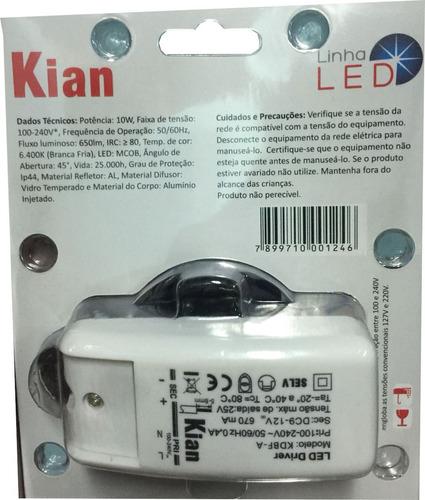 spot led quadrado embutir proof q 10w biv ip44 kian 6 peças