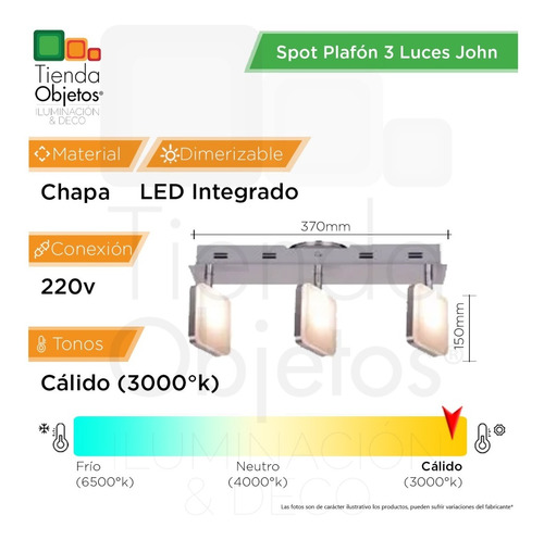 spot plafon 3 luces pared platil john candil 12,6w