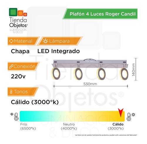 spot plafon 4 luces pared platil roger candil 16,8w