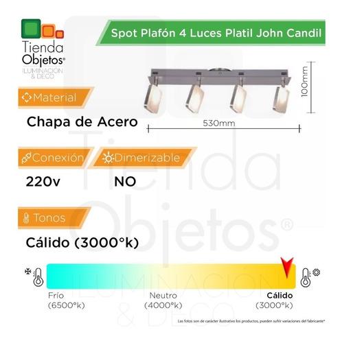 spot plafon moderno 4 luces pared platil john candil 16,8w