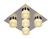 spot plafon moderno 5 luces pared platil megan candil 21w
