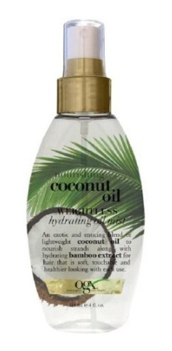 spray organix ogx óleo de coco hidratante leve para cabelos
