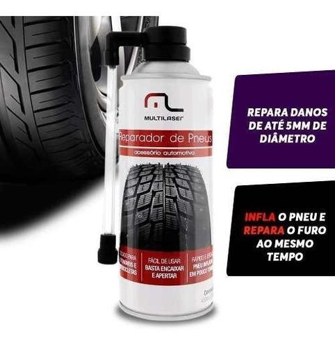 spray tapa furo reparador de pneus carro e moto multilaser