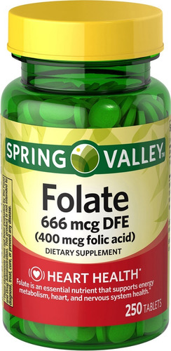 spring valley acido folico 400 mcg de 250 tabletas / oferta
